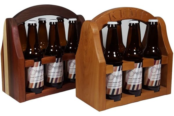 wooden 6-pack beer bottle carrier