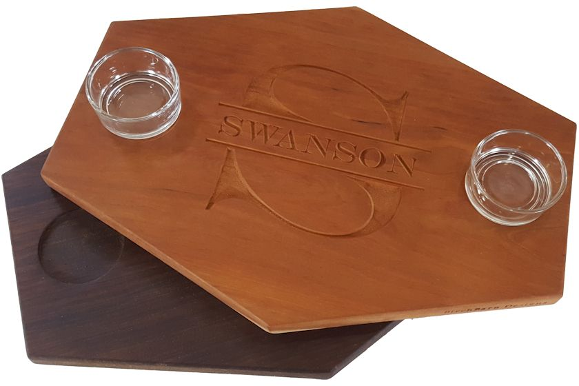 wood serving board with glass dipping bowls