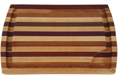 exotic wood carving board with extra-deep juice groove
