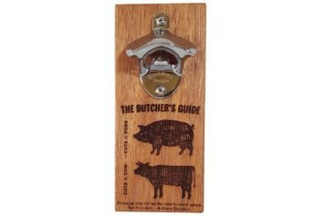 Magnetic bottle opener with butchers guide design