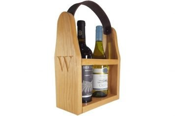 wooden wine bottle carrier
